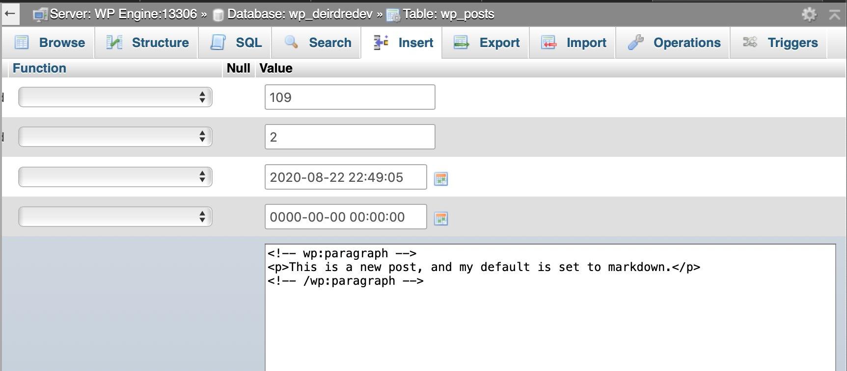 WordPress Post Draft in MySQL