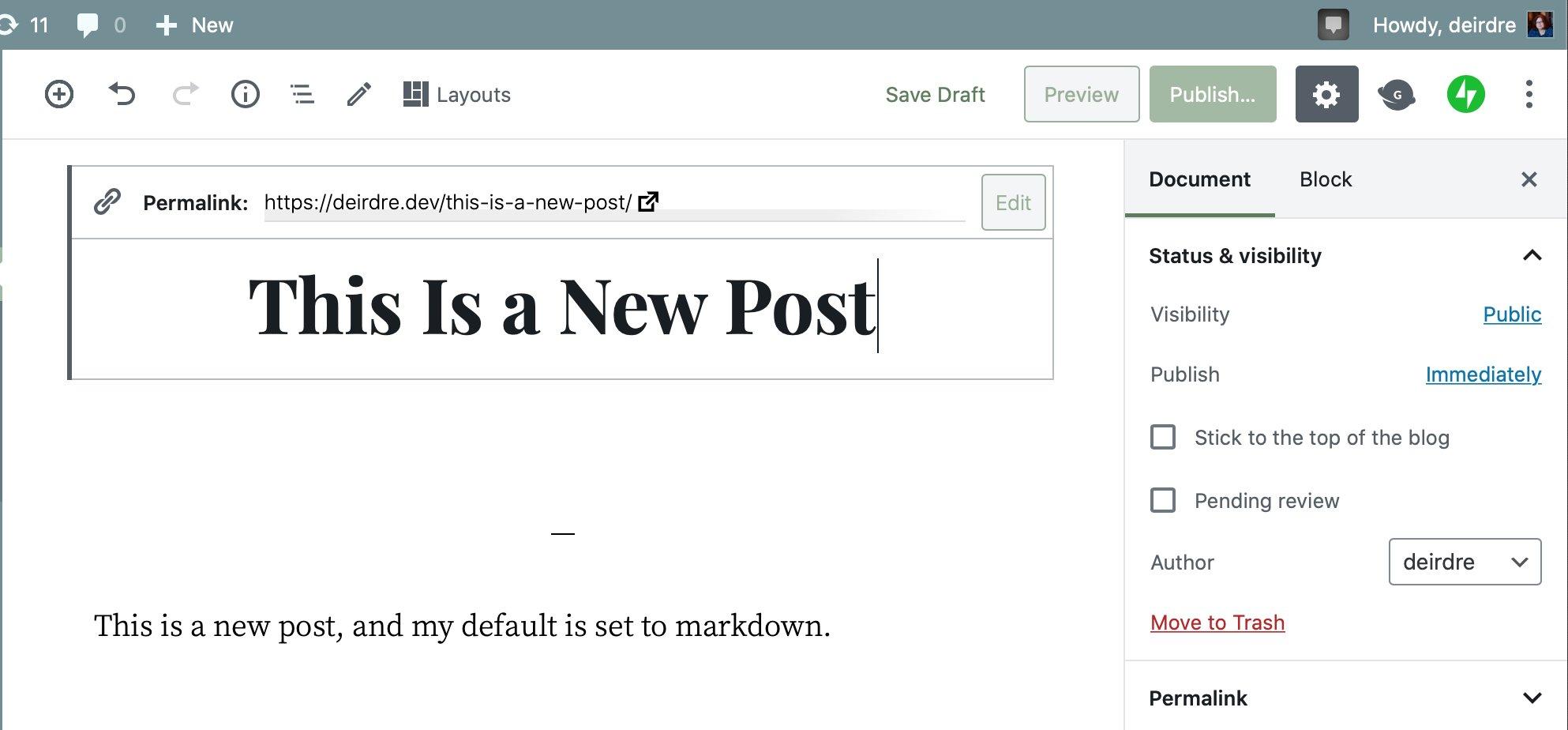 WordPress Post Draft